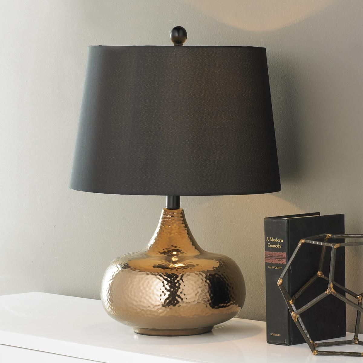 Hammered Bronze Bulb Table Lamp A Look That Shines Anywhere This