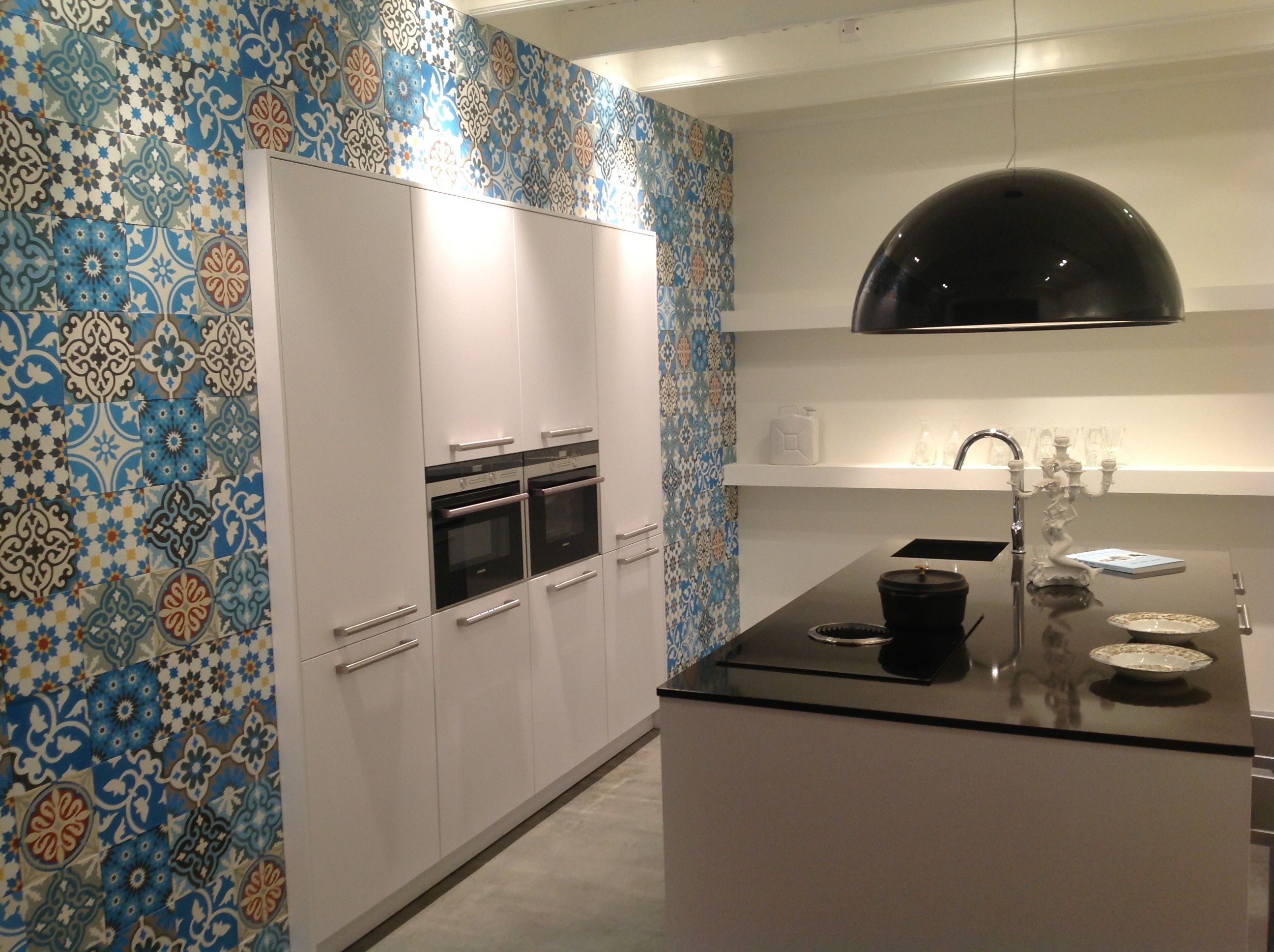 Keuken Vitrages Fantastic Patchwork Of Blue Colors Cement Tiles Www