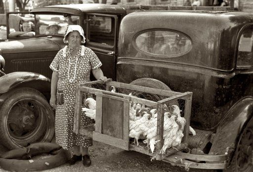 """May 1939. """"Farm woman. Vendor of chickens at farmers' market in Weatherford, Texas."""" 35mm nitrate negative by Russell Lee for the FSA. by kristy"""