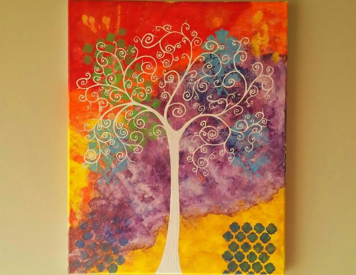 Whimsical Wall Art original tree of life wall art, abstract tree painting, whimsical