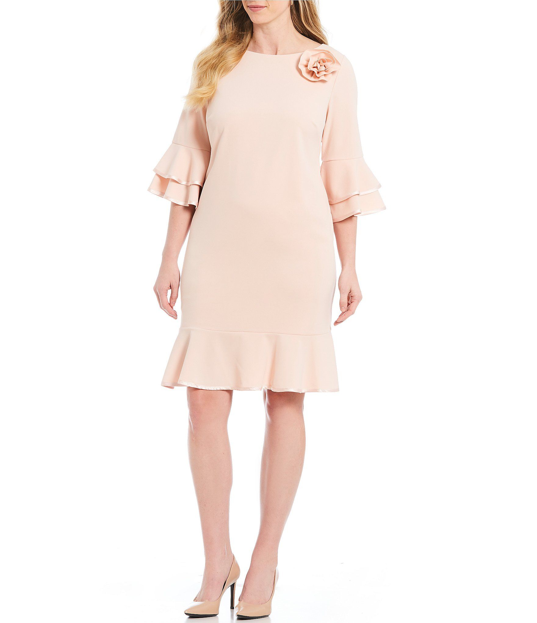 Jessica Howard Plus Size Layered Bell Sleeve Ruffle Hem Shift Dress Dillards Plus Size Dresses Plus Dresses Shift Dress [ 2040 x 1760 Pixel ]