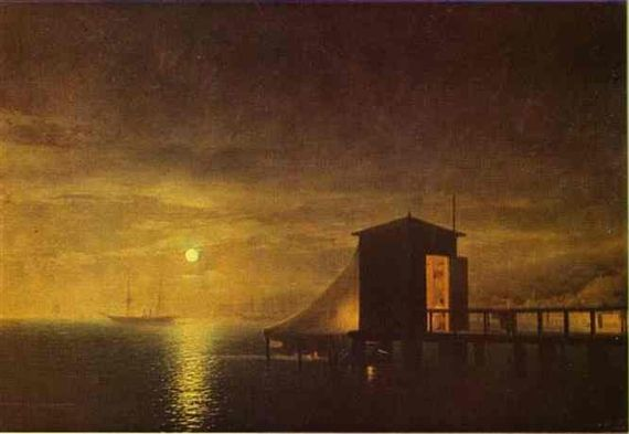 Artwork by Ivan Aivazovsky, Moonlit Night. A Bathing Hut in Feodosia, Made of Oil on canvas