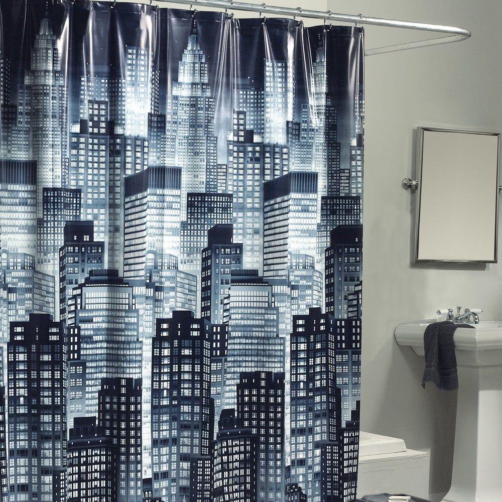 Excell City Skyline Shower Curtain Black White Skyline Shower