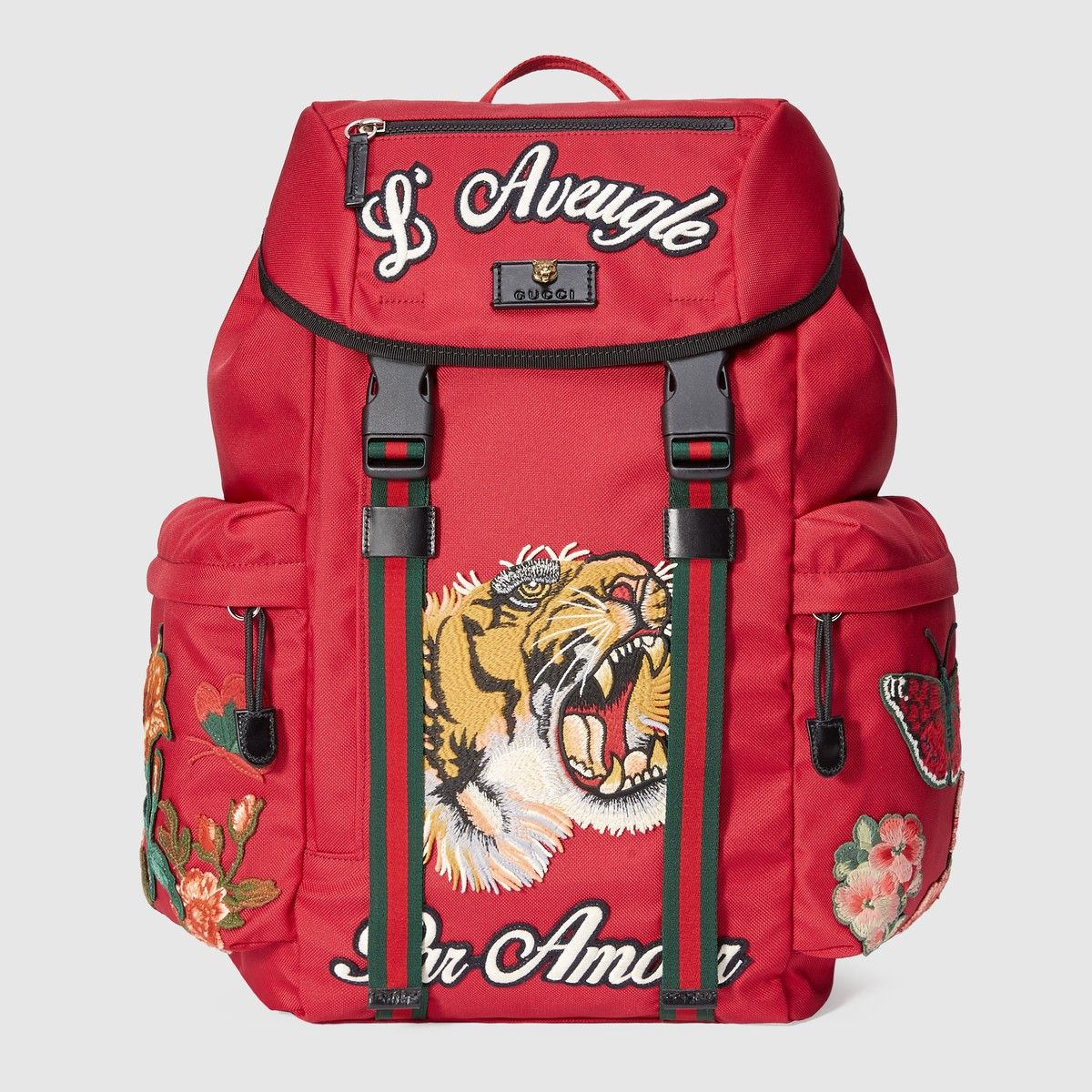 bda87e4885f GUCCI Backpack With Embroidery - Red Techno Canvas.  gucci  bags  leather   lining  canvas  nylon  backpacks
