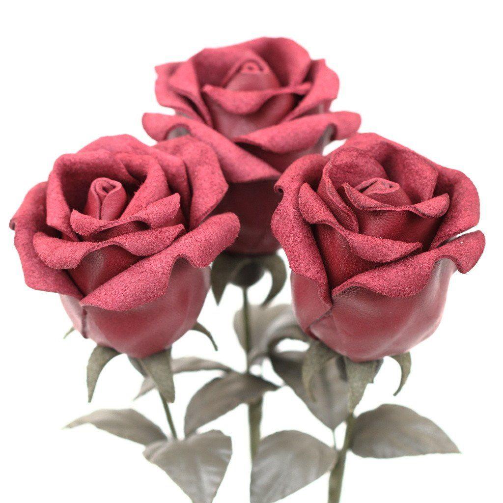 Leather Rose Bud Flower Bouquet - Burgundy Red | Bud flower