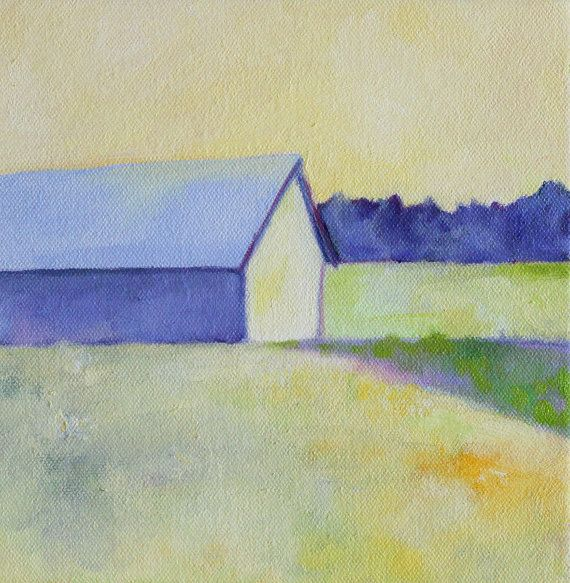 Best Oil Painting Light Blue Roof Barn Rural By 640 x 480