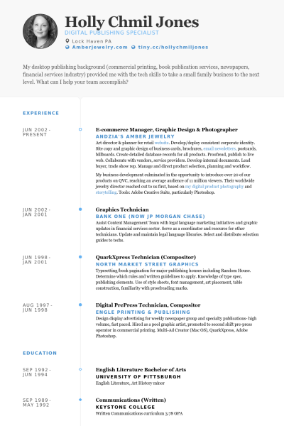 E Commerce Manager Graphic Design Photographer Resume Example