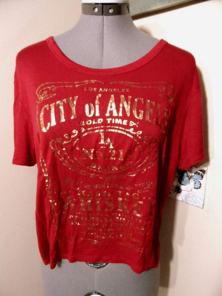 4384d3bc36904 CLEO City Of Angels Jack Daniels T-shirt Top M Red Gold foil Sexy off