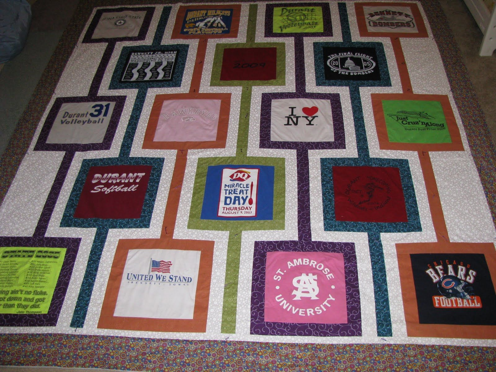 how to make a t shirt quilt with different size blocks