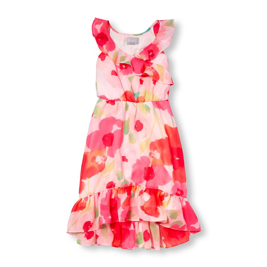 31e1c43fe Girls Sleeveless Floral Print Hi-Low Ruffle Maxi Dress  17.97 ...
