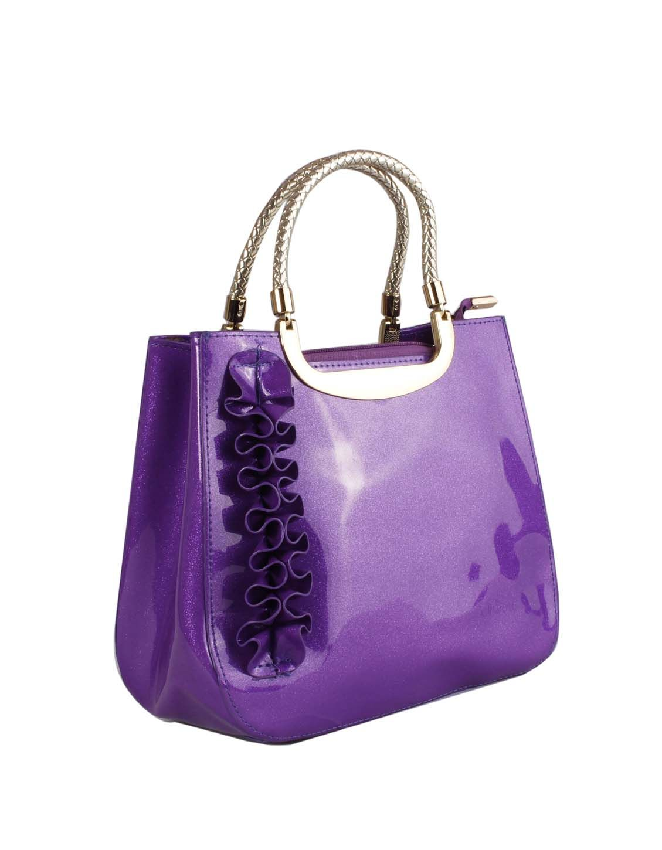 Women Hand Bags purple color glossy look http://www.bazaardekho.com/product-category/bags-women/