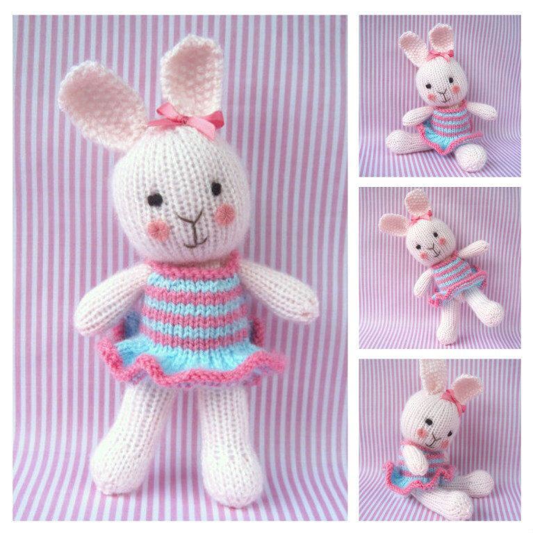 Candytuft - toy bunny rabbit doll knitting pattern - PDF INSTANT ...