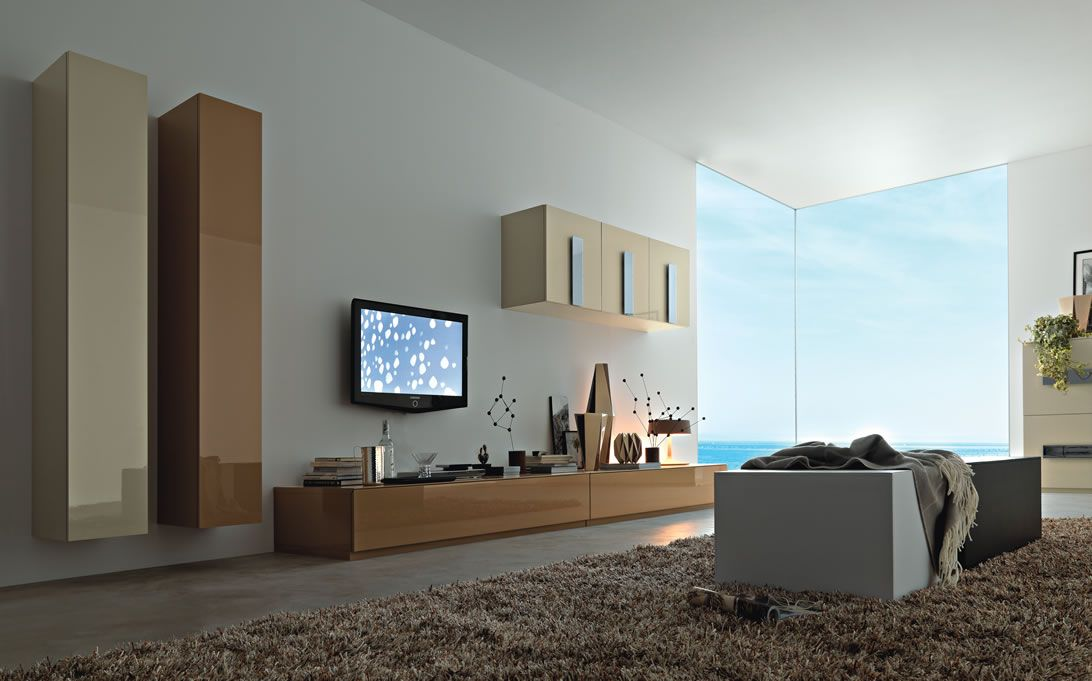Modern Living Wall Unit Interior Design Ipc335 - Lcd Tv Cabinet