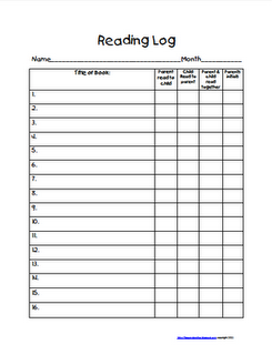 Reading log reading logs logs and school for Reading log for high school students template