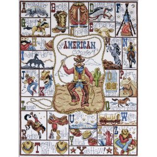 """Cowboy ABC Counted Cross Stitch Kit-16""""X20"""" 14 Count"""