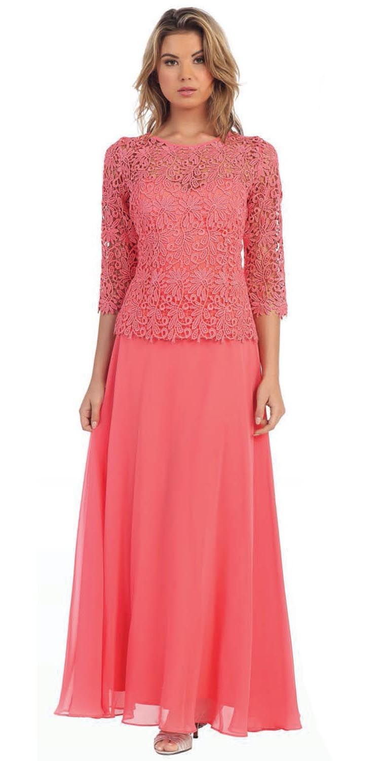 Coral Laced Mid Sleeve Top on Chiffon Dress | Emily\'s Wedding ...