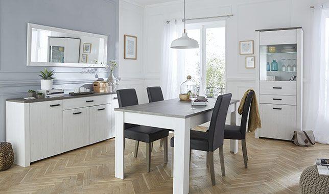 Salle à manger complète gris et blanc perle MARQUIS: http://www ...