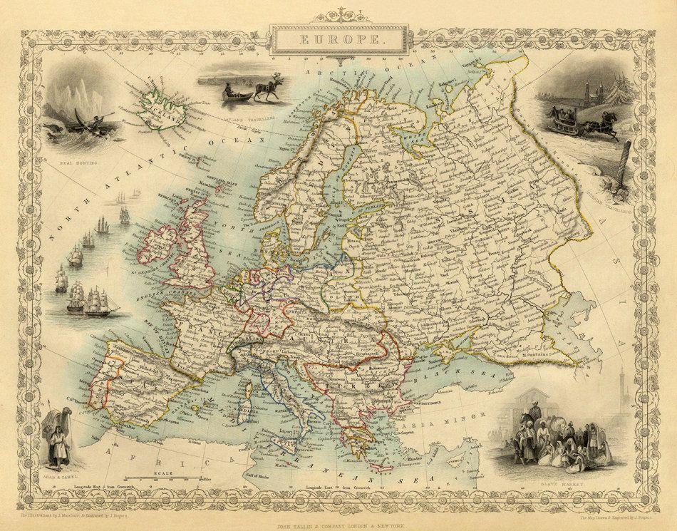 Mapa De Europa Antigua Mapa Antiguo De Europa Impresion De
