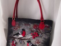 Felted handbag,Red,Black-Bullfinches-Felt bag