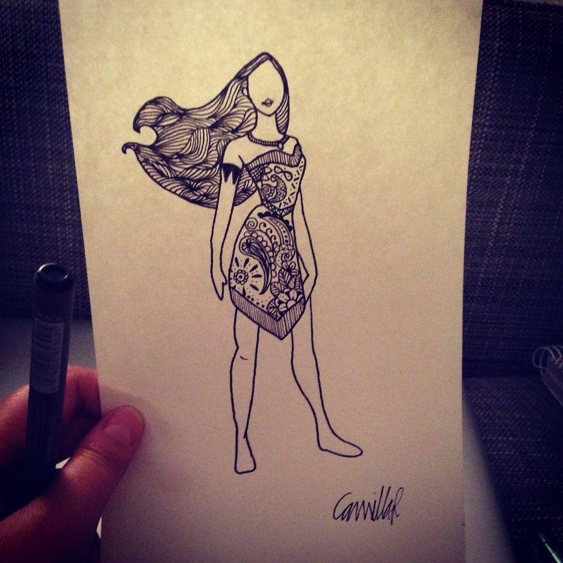 Pocahontas Disney Princess Zentangle Drawing