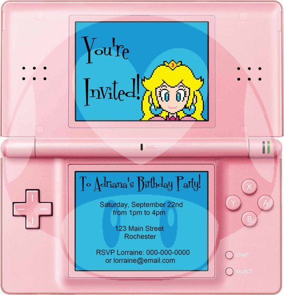 princess peach nintendo ds party invitation jpeg on bathroom tile designs ideas trends for 2021 5 measures to install id=34902