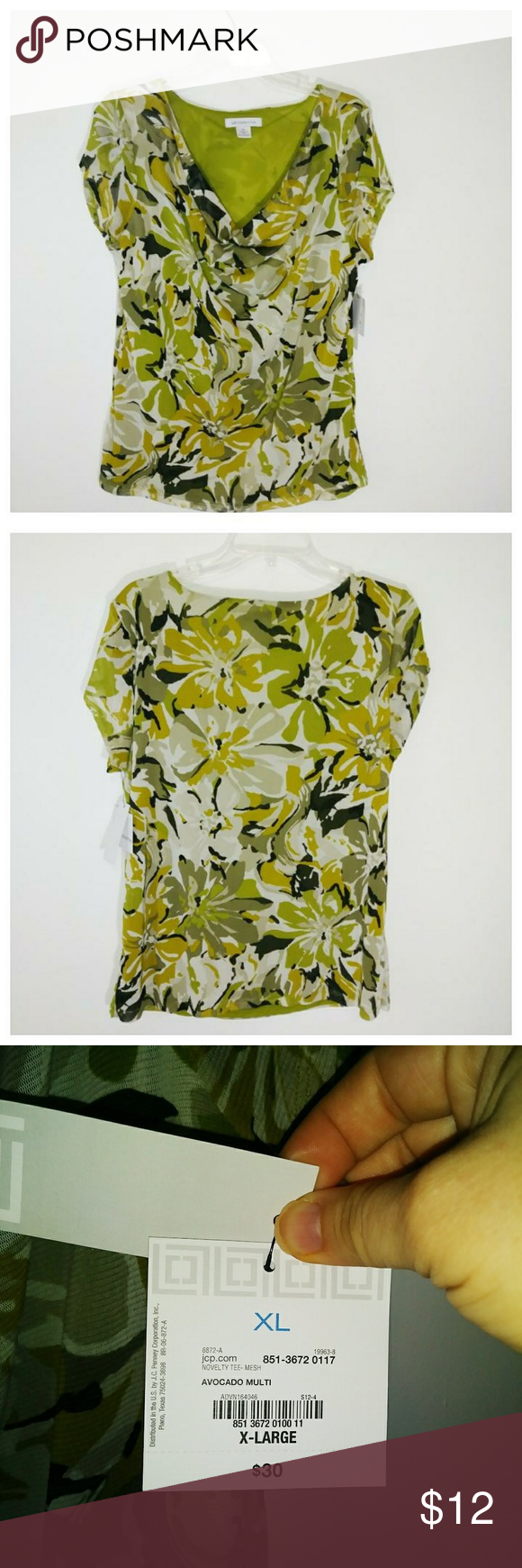 4f70b636a77ac Liz Claiborne Drape Neck Blouse-NWT (P57) New drape neck lined top by Liz  Claiborne in shades of cream