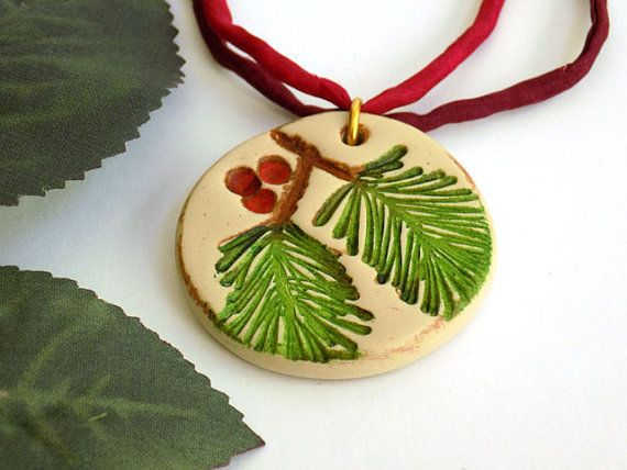 Pendant Necklace for Women, Polymer Clay Pendant, Red Necklace, Gift for Mom, Long Necklace, Christmas Jewelry, Handcrafted Jewelry
