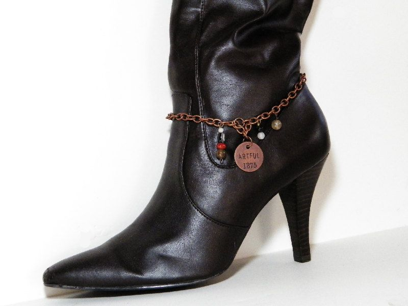 """Copper Boot Bracelet with """"ARTFUL"""" Charm and Agate Gemstone Beads. Fits Western or Dress Boots. Great Gift Idea. FREE Shipping in U.S.A. by SaveTheWildHorseCrea on Etsy"""