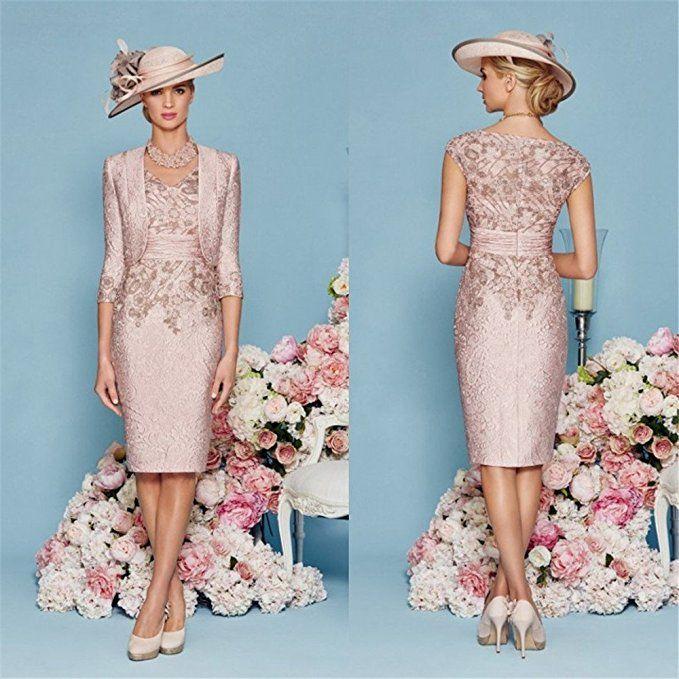 897c90e88936 Fenghuavip Elegant V-neck 2 pcs Champagne Pink Bridal Mother Dresses at  Amazon Women s Clothing store