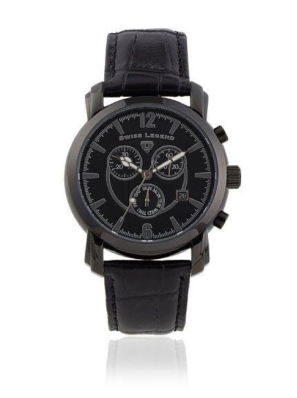 Swiss Legend Men's SL-50085-BB-01-BLK Crusader Black Genuine Leather Watch at MYHABIT