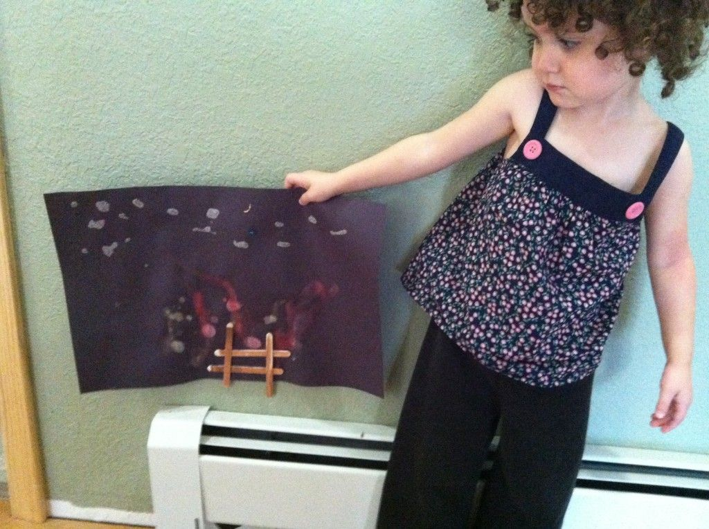 Curly was very proud of her starry night campfire.