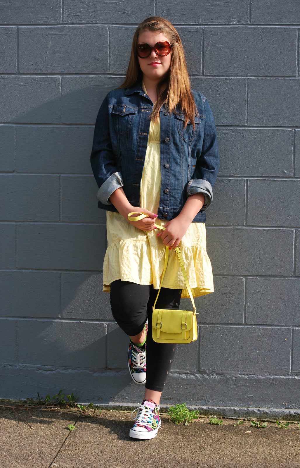 Fashion R Jean jacket, yellow dress, black skinny pants ...