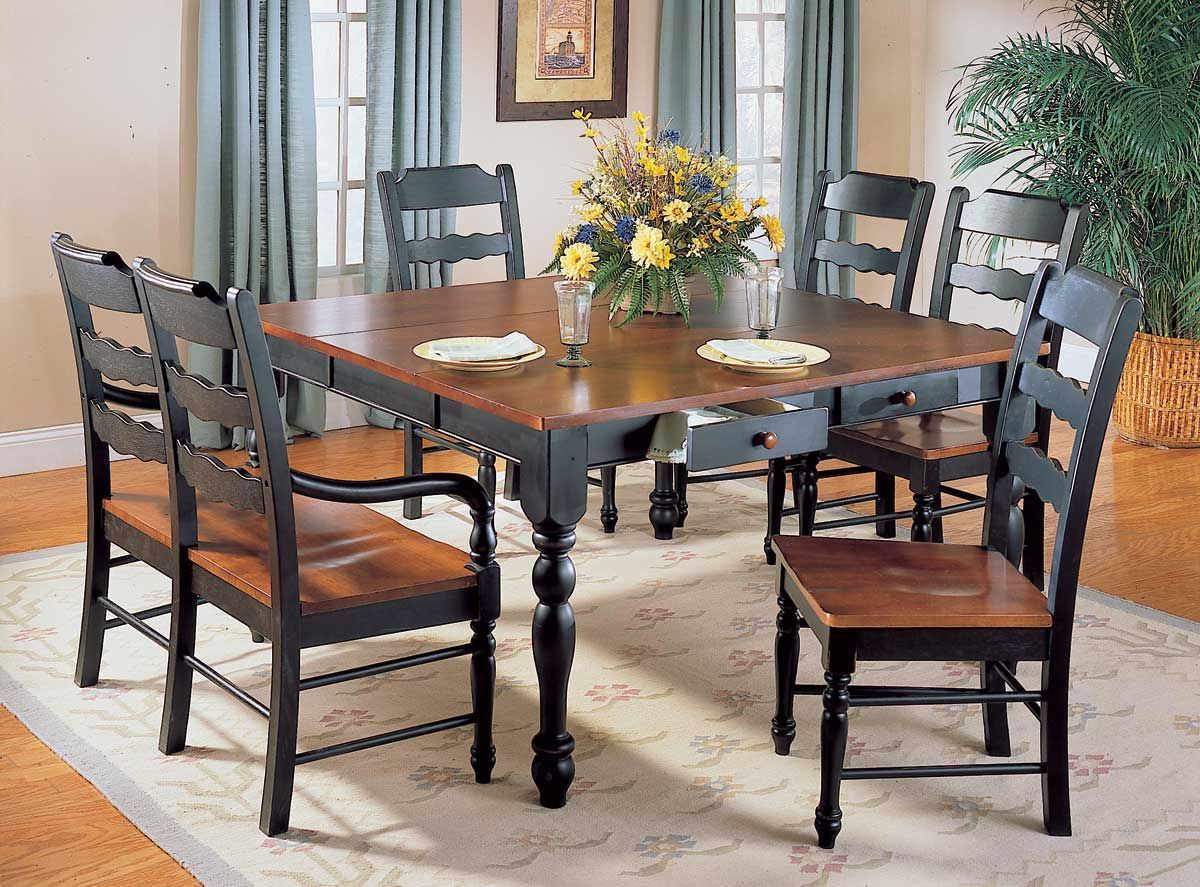 Black country dining room sets - Sedgefield Dining Table With Drawers And Extension Homelegance