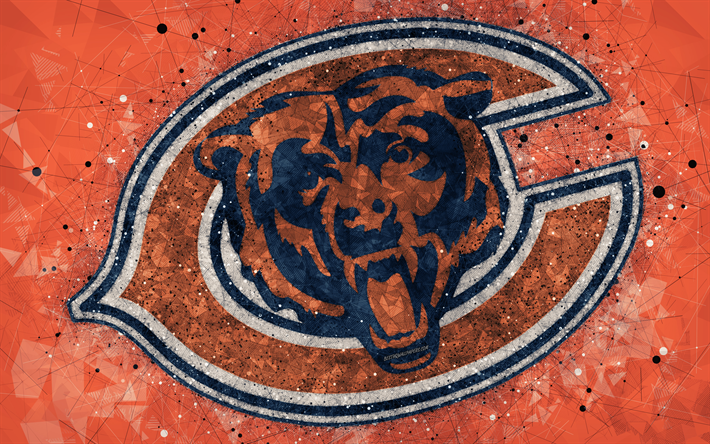 Download wallpapers Chicago Bears, 4k, logo, geometric art