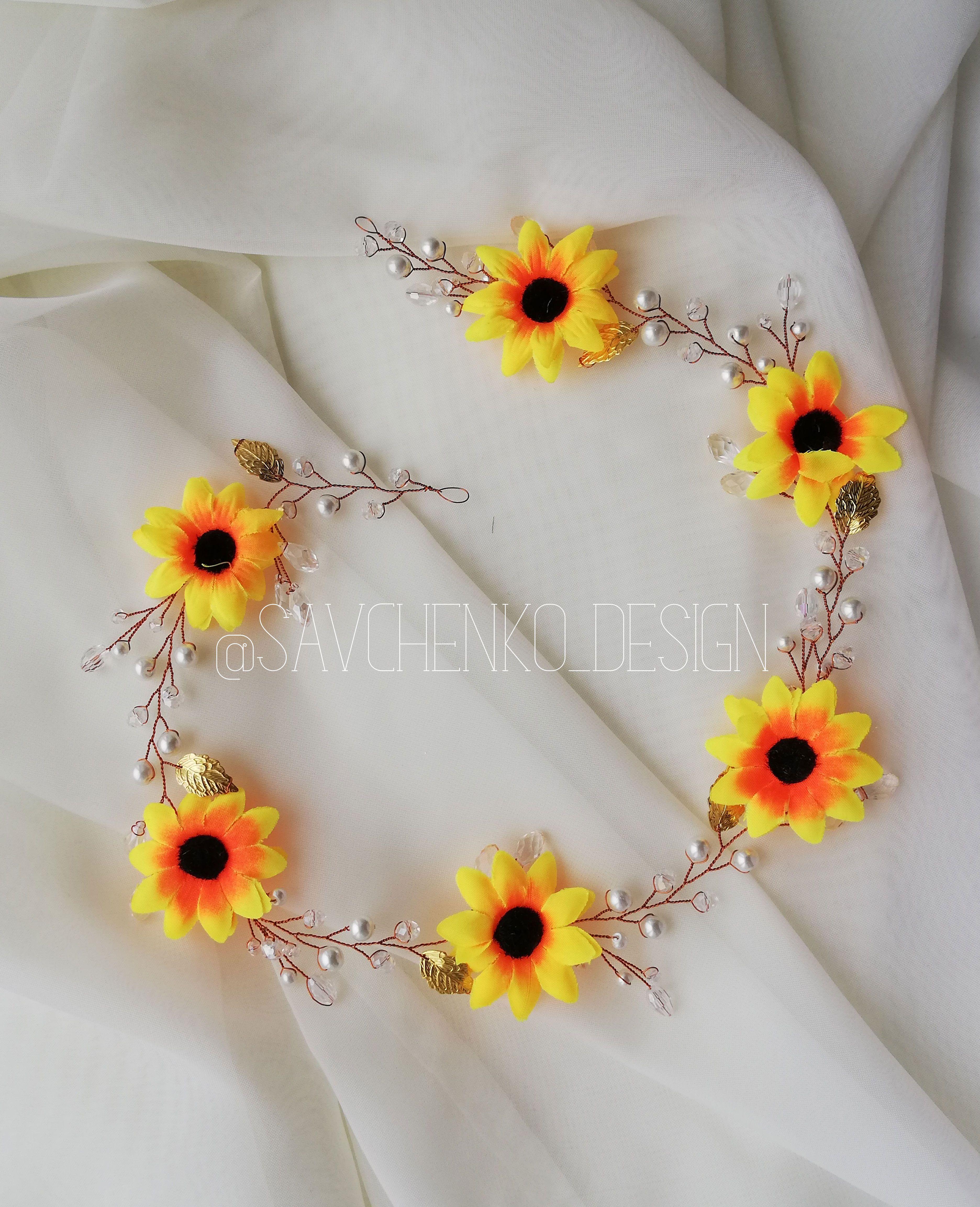 Large Yellow Sunflower hair vine sunflower flower girl hair piece Headband sunflower barrettes bridal sunflower wedding hair sunflower halo