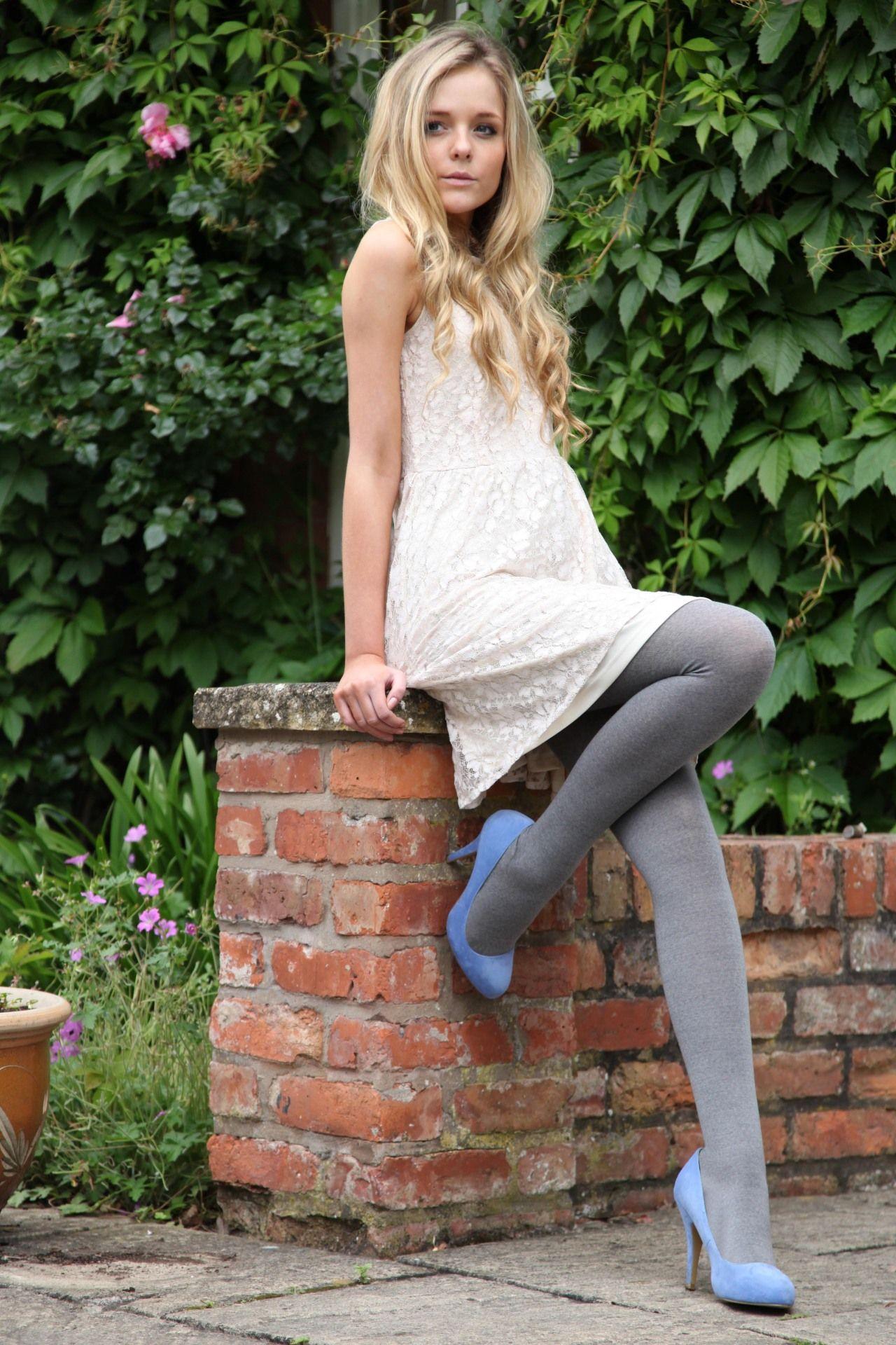 Pantyhose woman blue