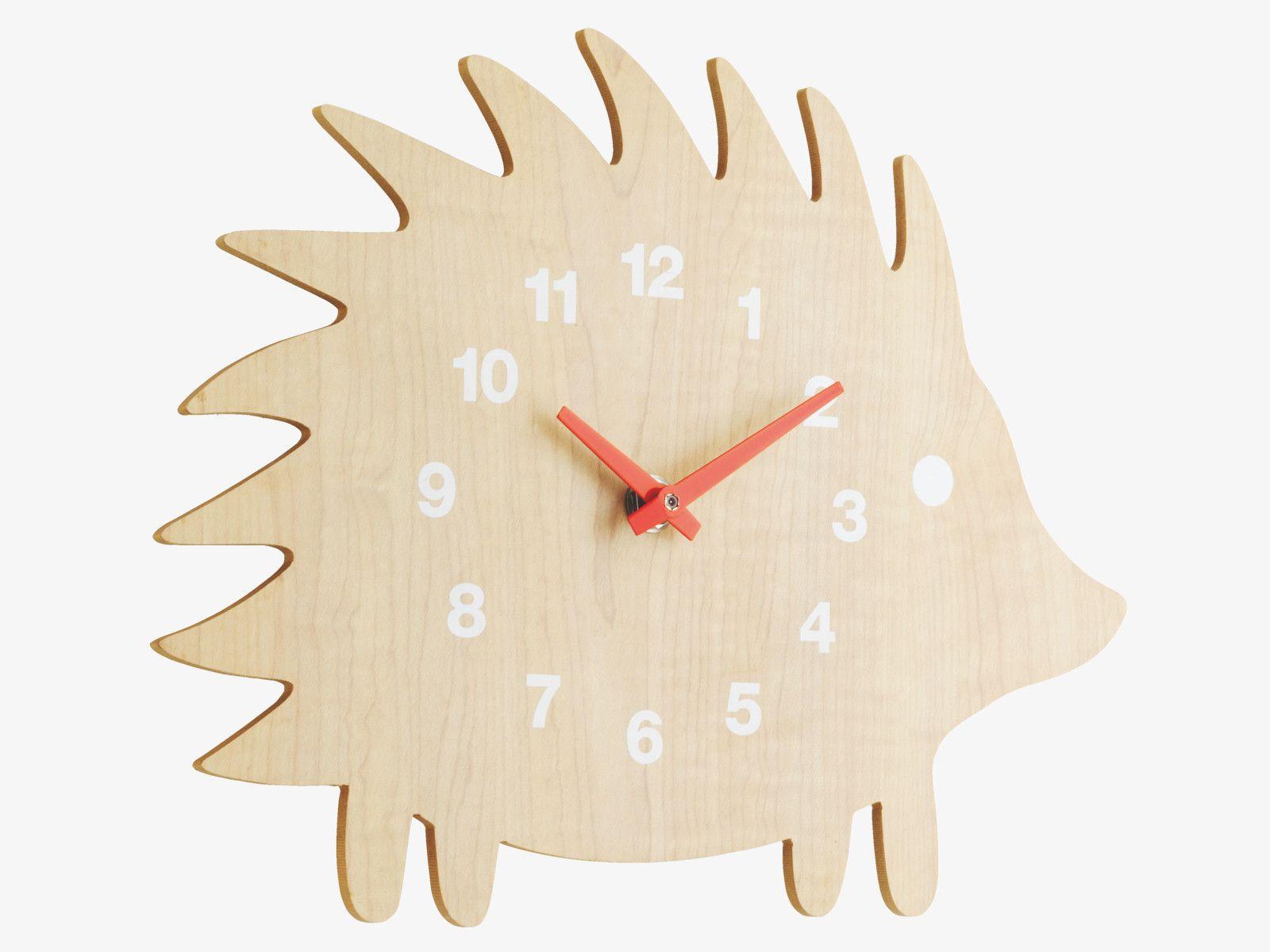 Spike Natural Wood Natural Wooden Hedgehog Wall Clock  Habitatuk
