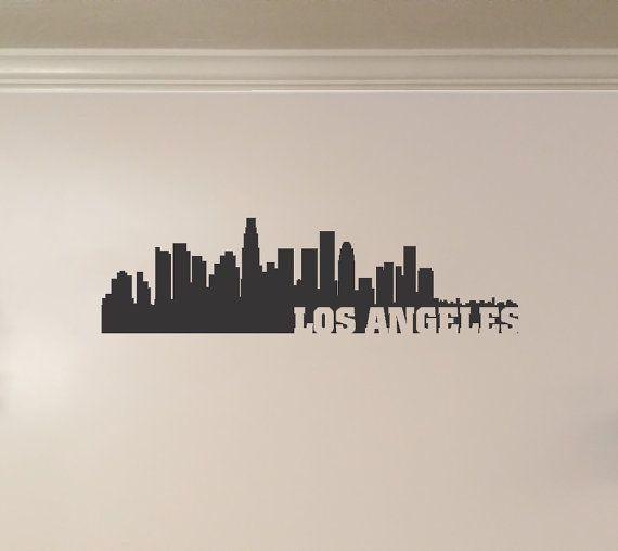 Los Angeles California City Skyline Interior Wall Decal With Etsy California Wall Decal City Skyline California City