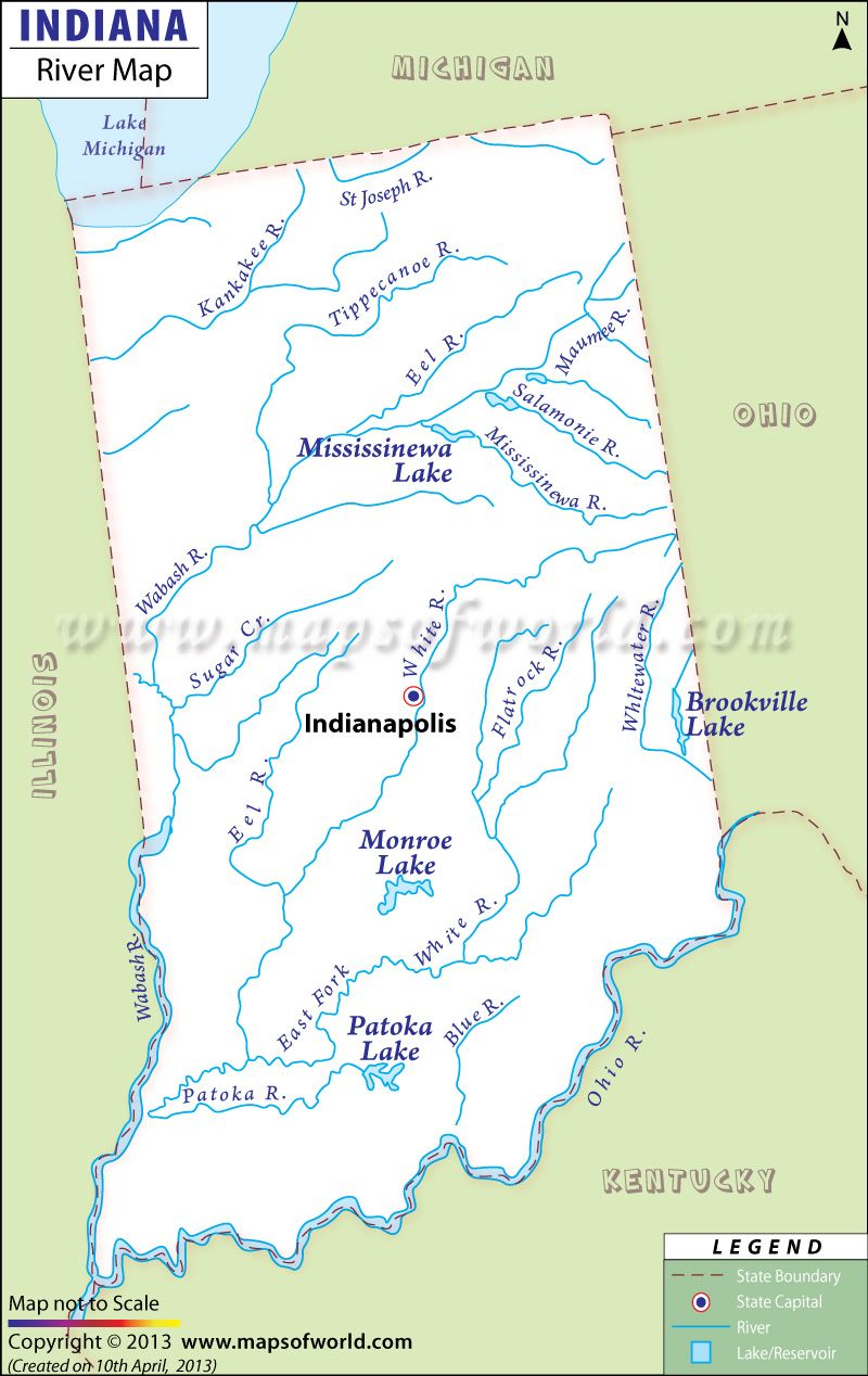Indiana River Map | Notre Dame | Indiana, Indiana state, Map