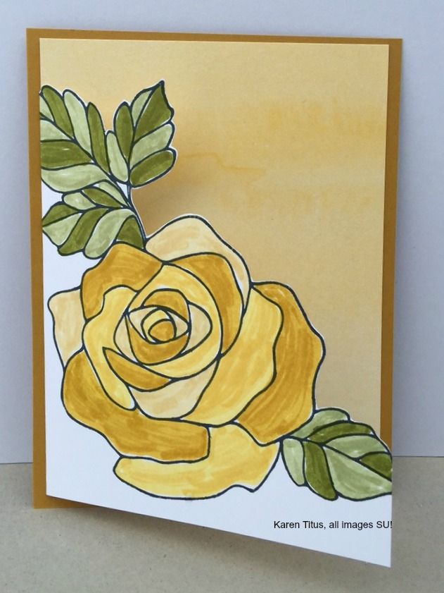 This Rose Wonder stampin up card is cut out along the rose to show the inside done with the Perfectly Artistic DSP. It is colored with three different shade of yellow Stampin' Write markers. Click through to see two other versions of this card.