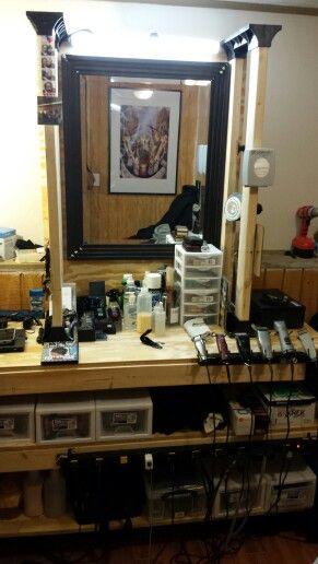 Kobalt Tool Cabinet >> Homemade Barber Station | Barbering in 2019 | Barber shop ...