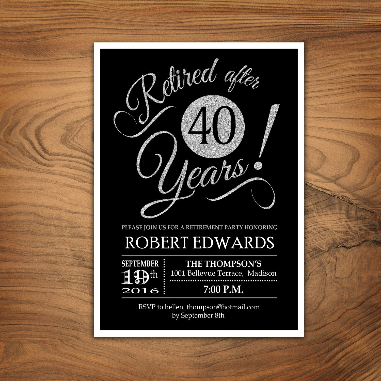 Retirement Party Invitation / Retirement Invite / Printable Silver ...
