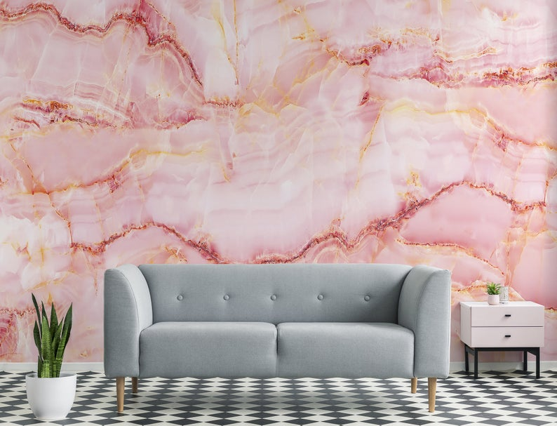 Pink Quartz Stone Wallpaper Self Adhesive Peel And Stick Wall Mural In 2021 Stone Wallpaper Pink Quartz Wallpaper Watercolor Wallpaper
