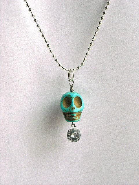 Turquoise Blue Green Day of the Dead Skull Charm by InkandRoses13, $15.99