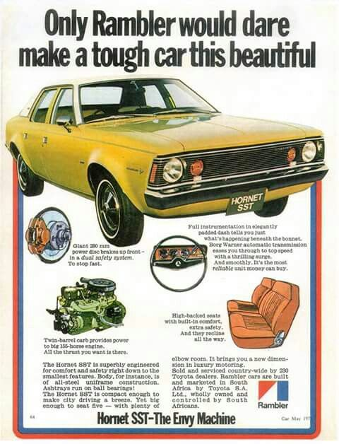 Amc Hornet Car Advertising Classic Car Insurance Rambler