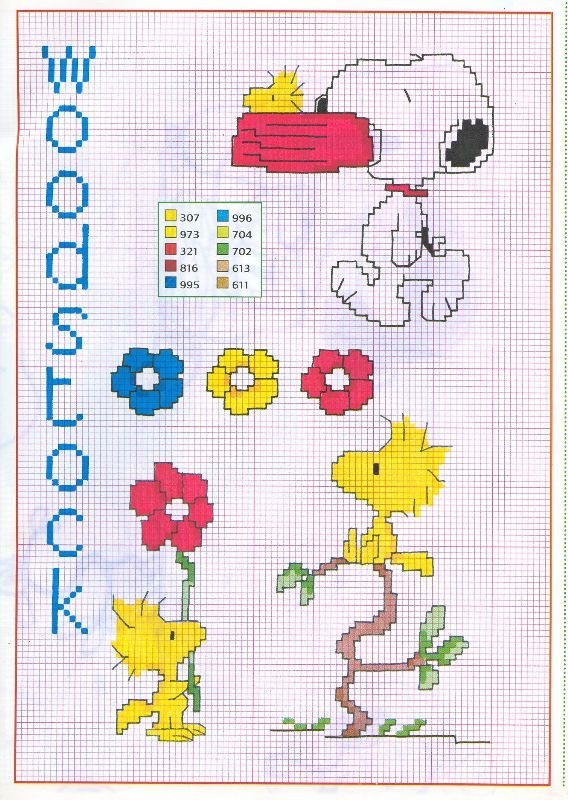 woodstock punto croce snoopy fiori ciotola | Knitting and Crochet ...