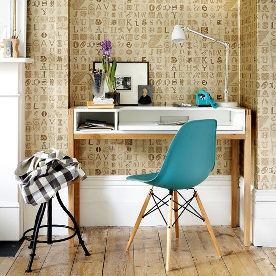 Lettered wallpaper home office Turquoise chair Desks and Wallpaper