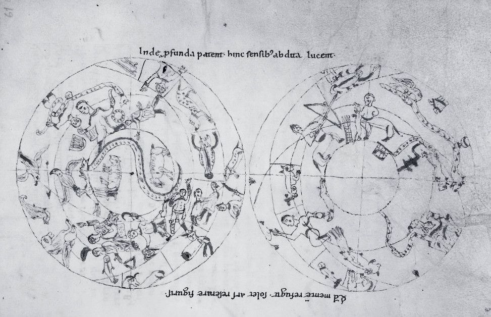 The pair of northern and southern hemispheres in Darmstadt, MS 1020, fol. 61r.  - 1150 ca
