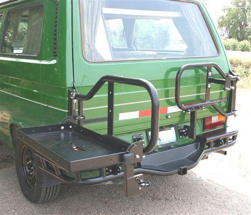 Swing away carrier with folding shelf | Blue the VW Campvan