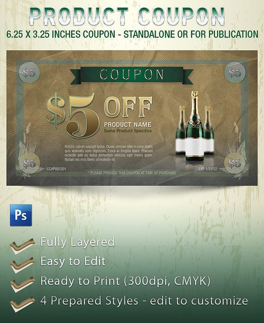 The Product Coupon Template is geared towards usage in the wine - coupon sample template